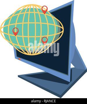 computer desktop with delivery app vector illustration design - Stock Photo