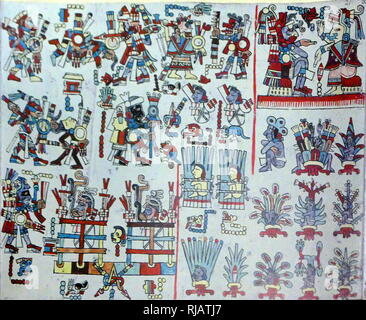 The Codex Zouche-Nuttall or Codex Tonindeye is an accordion-folded pre-Columbian document of Mixtec pictography, now in the collections of the British Museum. It is one of about 16 manuscripts from Mexico that are entirely pre-Columbian in origin. Circa 14th century - Stock Photo