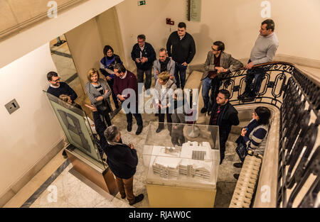 Brussels, Belgium - 02 02 2019: Local tourists visiting the Interior of the Brussels Parliament with Stefan Cornelis as a guide - Stock Photo
