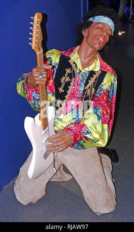 Waxwork statue of Jimi Hendrix (1942 – 1970), an American rock guitarist, singer, and songwriter. - Stock Photo