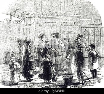 An engraving depicting a street scene in London during the frosty weather. Dated 19th century - Stock Photo