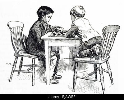 An engraving depicting two young boys playing a friendly game of draughts. Dated 19th century - Stock Photo