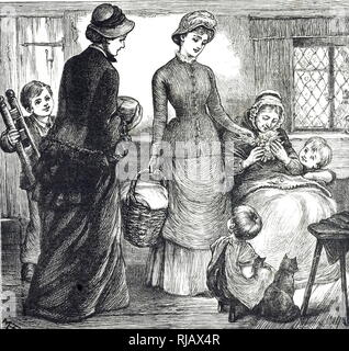 An engraving depicting women taking gifts to a poor cottage. Dated 19th century - Stock Photo