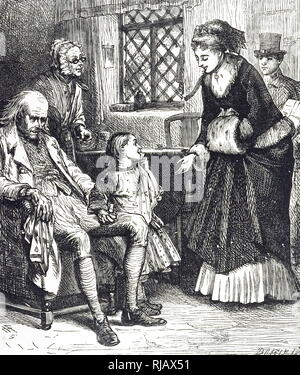 An engraving depicting a woman taking gifts to a poor cottage. Dated 19th century - Stock Photo