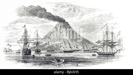 An engraving depicting Gunung Api located on the Banda Islands, located in the Maluku province of Indonesia. Dated 19th century - Stock Photo