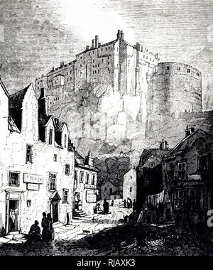 An engraving depicting Edinburgh Castle, a historic fortress on the Castle Rock. Dated 19th century - Stock Photo
