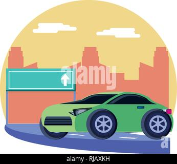 car sedan with traffic signal in the road vector illustration design - Stock Photo
