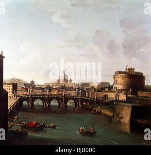 Rome, A View of the Tiber with the Castel Sant'angelo and Saint Peter's Basilica, oil on canvas, by Antonio Joli  (1700–1777) - Stock Photo
