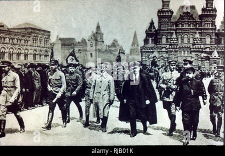 Vladimir Lenin with Soviet leaders in Red Square, Moscow, Russia 1919 - Stock Photo