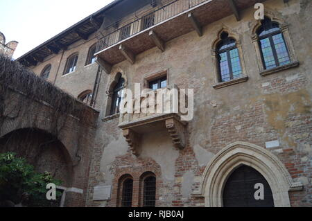 Balcony Of Juliet's House In Verona. Travel, holidays, architecture. March 30, 2015. Verona, Veneto region, Italy. - Stock Photo