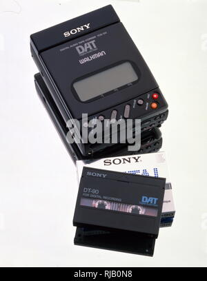 Sony TCD-D3 Digital Audio Tape Recorder and cassette tape; (1991-92). The TCD-D3 was Sony's first portable DAT Recorder. - Stock Photo