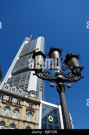 Germany, Hesse, Frankfurt am Main, financial district, Commerzbank Tower, street lamp - Stock Photo