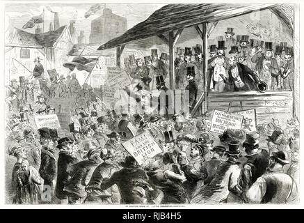 Election scene. Taking place between 27 March – 24 April 1857, led by Lord Palmerston, finally won a majority in the House of Commons as the Conservative vote fell significantly. - Stock Photo