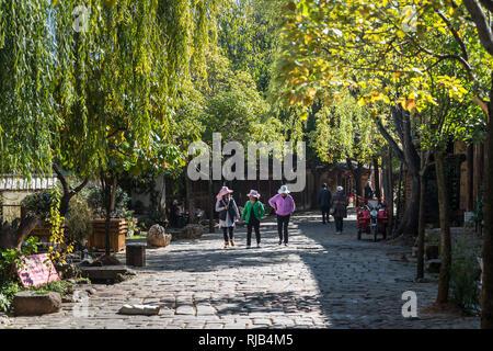 Main street, Shaxi, a historic market town, Yunnan, China - Stock Photo