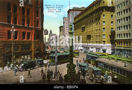 San Francisco, California, USA - Market at Kearney showing Lotta's Fountain and Palace Hotel. - Stock Photo