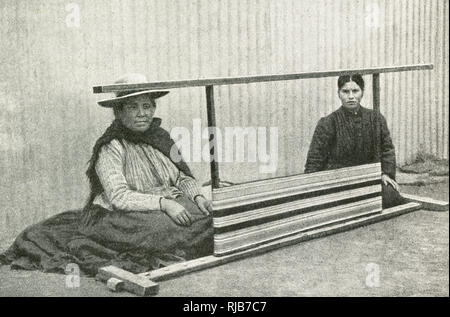 ff6985fcf Two Araucanian women weaving guanaco wool, southern Chile, South America.  Araucania (Araucana