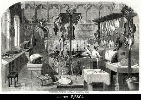 Christmas time at Windsor Castle, cooks preparing poultry and meat in the larder. - Stock Photo