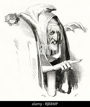 Illustration by Kenny Meadows to The Tempest, by William Shakespeare. Portrait of Sycorax, Caliban's mother. - Stock Photo