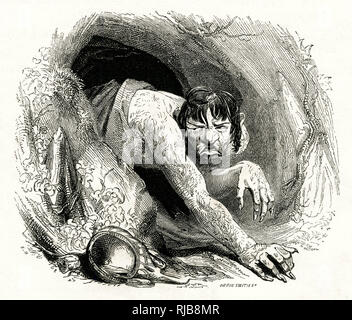 Illustration by Kenny Meadows to The Tempest, by William Shakespeare. Portrait of Caliban emerging from his cave. - Stock Photo