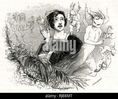 Illustration by Kenny Meadows to The Tempest, by William Shakespeare. Ferdinand hearing music, magically produced by Ariel. - Stock Photo