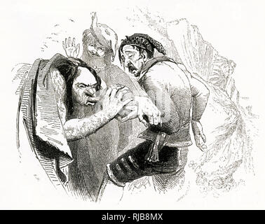 Illustration by Kenny Meadows to The Tempest, by William Shakespeare. Stephano and Trinculo get Caliban drunk. - Stock Photo