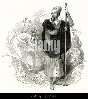 Illustration by Kenny Meadows to The Tempest, by William Shakespeare. Ariel comes at Prospero's bidding. - Stock Photo