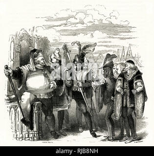 Illustration by Kenny Meadows to The Merry Wives of Windsor, by William Shakespeare. Sir John Falstaff with Bardolph, Nym, Pistol and others. - Stock Photo