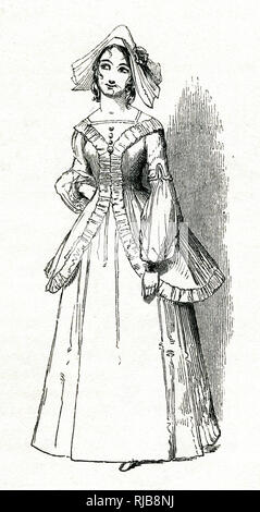 Illustration by Kenny Meadows to The Merry Wives of Windsor, by William Shakespeare. Mrs Page's daughter, Anne Page. - Stock Photo