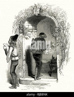 Illustration by Kenny Meadows to The Merry Wives of Windsor, by William Shakespeare. Sir Hugh Evans, a Welsh parson, sends Simple with a letter for Mistress Quickly, as he needs her help with an introduction to Anne Page. - Stock Photo