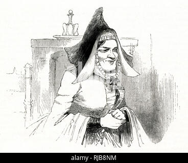 Illustration by Kenny Meadows to The Merry Wives of Windsor, by William Shakespeare. Mistress Quickly, servant to Dr Caius. - Stock Photo
