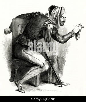 Illustration by Kenny Meadows to The Merry Wives of Windsor, by William Shakespeare. Mr Ford disguised as Mr Brook, jealous of Falstaff's interest in his wife. - Stock Photo