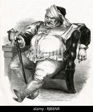 Illustration by Kenny Meadows to The Merry Wives of Windsor, by William Shakespeare. Falstaff during his conversation with Mr Ford, disguised as Mr Brook, who is jealous of Falstaff's interest in his wife. - Stock Photo
