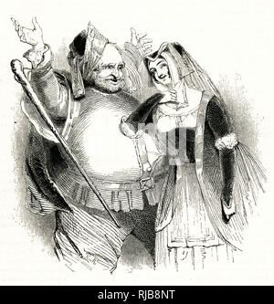 Illustration by Kenny Meadows to The Merry Wives of Windsor, by William Shakespeare. Falstaff with Mrs Ford, who pretends to be flattered by his attentions but is actually going to play a trick on him. - Stock Photo