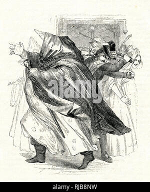 Illustration by Kenny Meadows to The Merry Wives of Windsor, by William Shakespeare. Falstaff, disguised in women's clothing, is beaten out of the house by Mr Ford, who thinks he/she is a fortune teller called Mother Prat. - Stock Photo