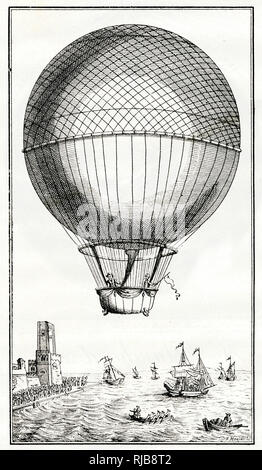 Blanchard and Jeffries crossing the English Channel in a balloon, 7 January 1785 -- 100th anniversary commemoration. - Stock Photo