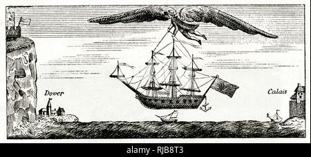 Satirical cartoon, Blanchard the balloonist flying with large wings, crossing the English Channel from Calais to Dover, carrying a ship. - Stock Photo