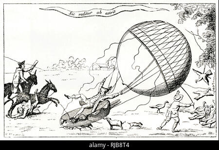 Satirical cartoon, Blanchard the balloonist landing in a field, causing disruption to people and animals. - Stock Photo