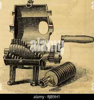 . Charles V. Mapes'. Agricultural machinery. Fig. 230. Fig. 231. Perry's Patent Meat Cutters.. Please note that these images are extracted from scanned page images that may have been digitally enhanced for readability - coloration and appearance of these illustrations may not perfectly resemble the original work.. Mapes, Charles Victor, 1836-1916. [from old catalog]. New York, M'Crea & Miller - Stock Photo