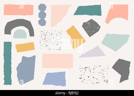 A set of paper cut shapes in pastel colors and vintage textures isolated on cream background. Playful and modern collage style poster, gift wrap, fabr - Stock Photo