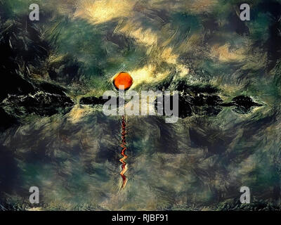 Abstract painting. Sunset over forest lake. - Stock Photo