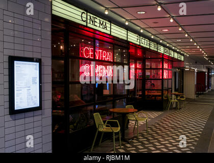 neon signage at the new entrance of the Picture House Central Cinema near Piccadilly Circus in London.Picture house cinema soho. - Stock Photo