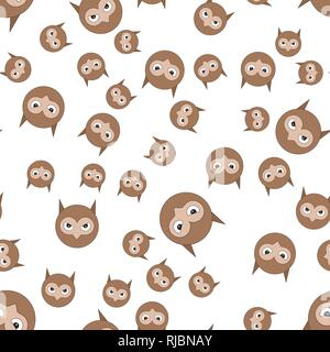 Seamless pattern of owls head. Vector illustration in cartoon style. - Stock Photo