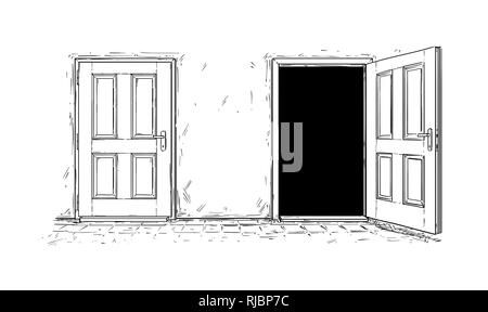 Cartoon of Two Open and Close Wooden Decision Door - Stock Photo
