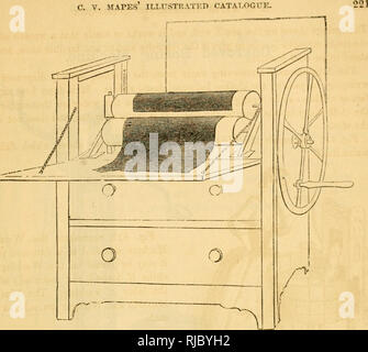 . Charles V. Mapes'. Agricultural machinery. Fig. 414. Patent Portable Mangle. Bee-Hives.. Please note that these images are extracted from scanned page images that may have been digitally enhanced for readability - coloration and appearance of these illustrations may not perfectly resemble the original work.. Mapes, Charles Victor, 1836-1916. [from old catalog]. New York, M'Crea & Miller - Stock Photo