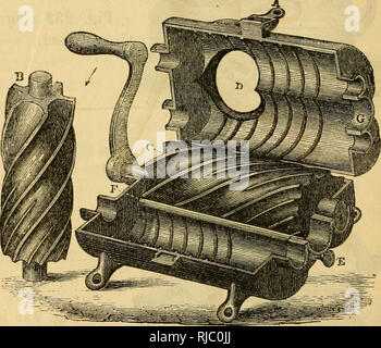 . Charles V. Mapes'. Agricultural machinery. Fig. 236. Hale's Meat Cutter and Stufler, open.. Please note that these images are extracted from scanned page images that may have been digitally enhanced for readability - coloration and appearance of these illustrations may not perfectly resemble the original work.. Mapes, Charles Victor, 1836-1916. [from old catalog]. New York, M'Crea & Miller - Stock Photo
