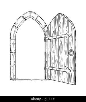 Cartoon Drawing of Open Wooden Medieval Decision Door - Stock Photo