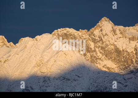 View on Dreitorspitze from the south, Wettersteingebirge, Tyrol, Austria - Stock Photo
