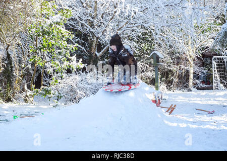 Nine year old boy sledging in the snow, Medstead, Alton, Hampshire, England ,United Kingdom. - Stock Photo