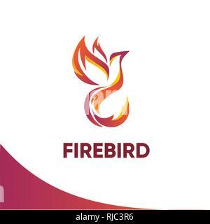 Firebird logo template - Stock Photo