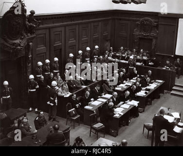 22nd November 1945 - The Nuremberg Trials - The Defendants in the dock, including Hermann Goering, Karl Donitz and Rudolf Hess. - Stock Photo